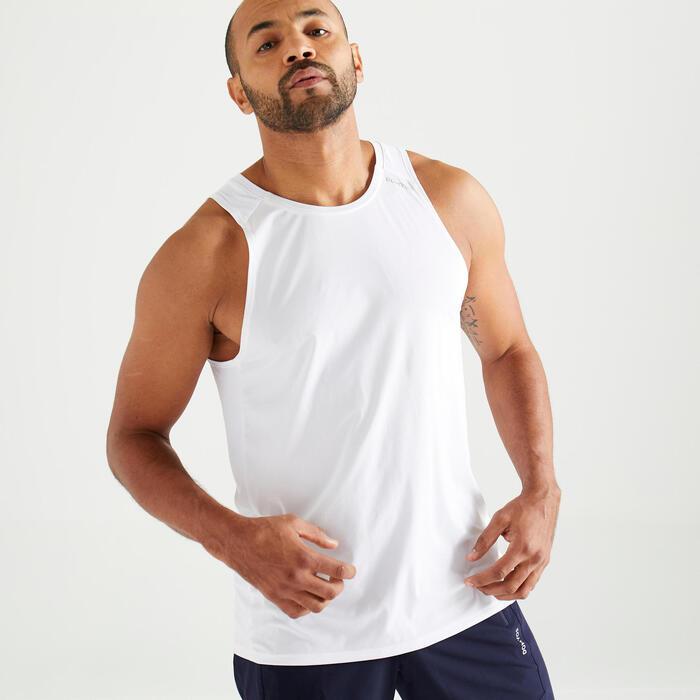 Mouwloos shirt voor cardiofitness heren FTA 500 wit