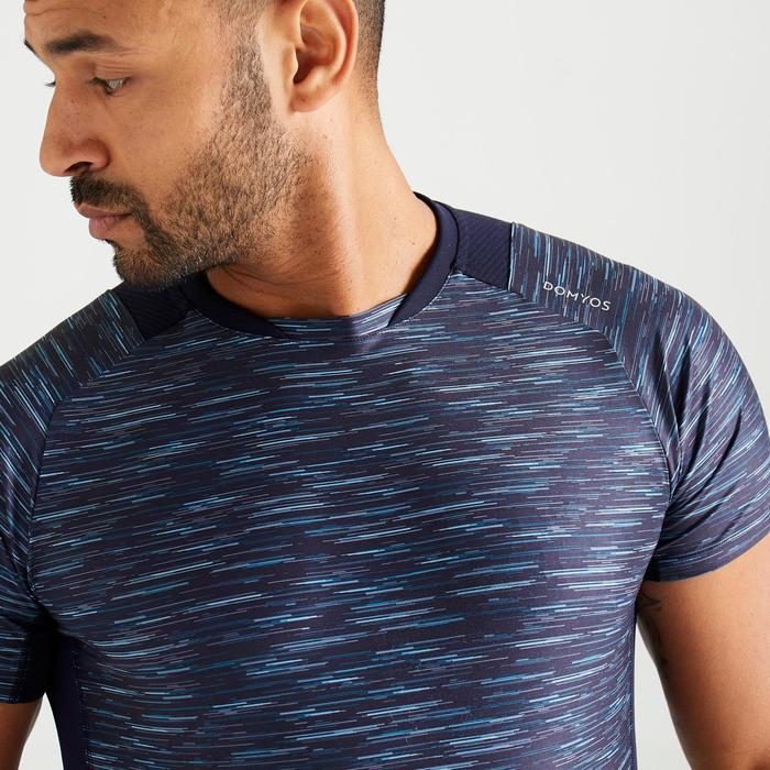 T-shirt voor cardiofitness heren FTS 500 gemêleerd blauw