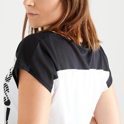 T-shirt fitness cardio training femme blanc et noir imprimé 120