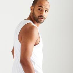 Débardeur fitness cardio training homme blanc 500