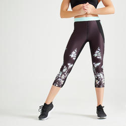 Women's 7/8 Fitness Leggings With Pocket - Printed Black