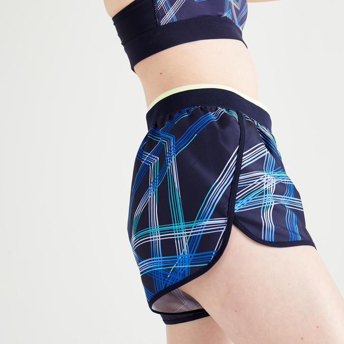 Women's Cardio Fitness Loose-Fit Shorts 100 - Navy Blue Print