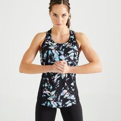 3-in-1 damestopje voor cardiofitness 520 paars en zwart met print