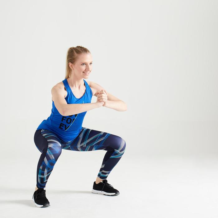 Cardiofitness legging voor dames marineblauw met print 120