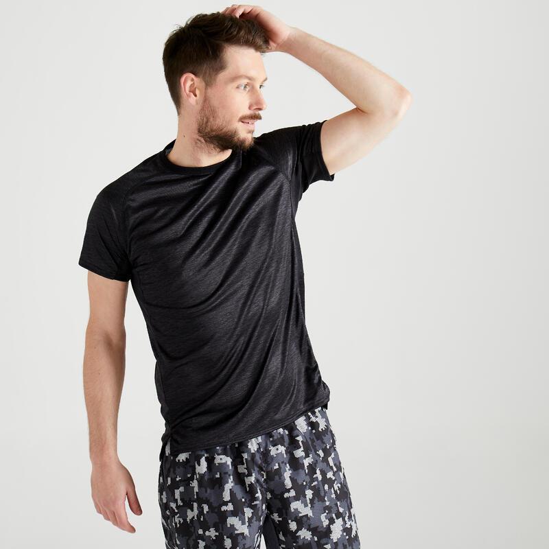 T-shirt voor cardiofitness heren FTS 120 grijs zwart AOP