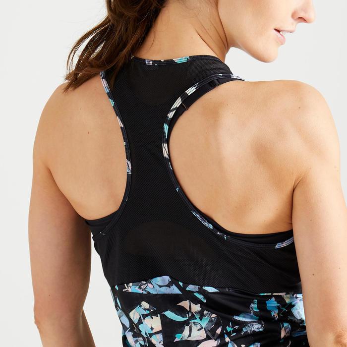 Débardeur 3 en 1 fitness cardio training femme mauve et noir imprimé 520