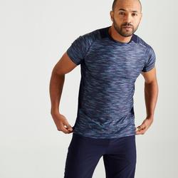 T-shirt voor cardiofitness heren 500 gemêleerd blauw