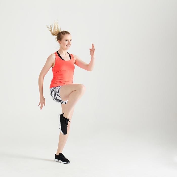 Short fitness cardio training femme noir et blanc imprimé graphique 100