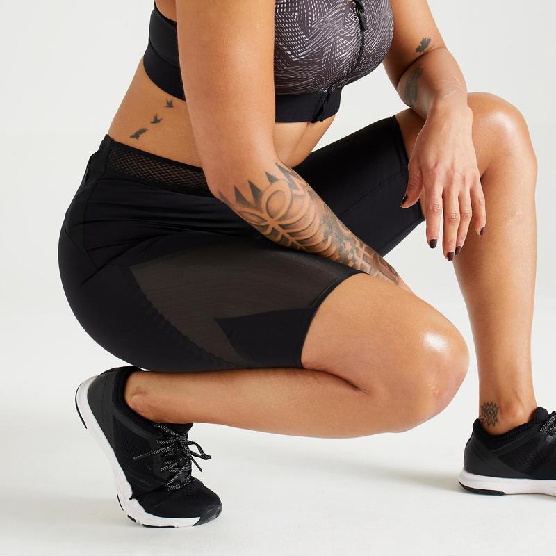 Pantaloncini Donna Cardio Fitness 921 Neri Domyos By Decathlon