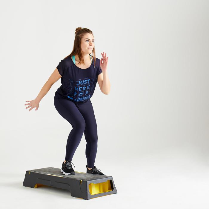 T-shirt fitness cardio training femme noir et bleu imprimé 120