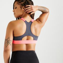 Brassière Zip fitness cardio training femme imprimé floral 900