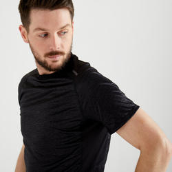 Tee shirt cardio fitness training homme FTS 120 gris noir AOP.
