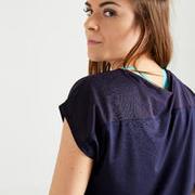 Women's Fitness Cardio-Training T-Shirt 120 - Printed Black/Blue