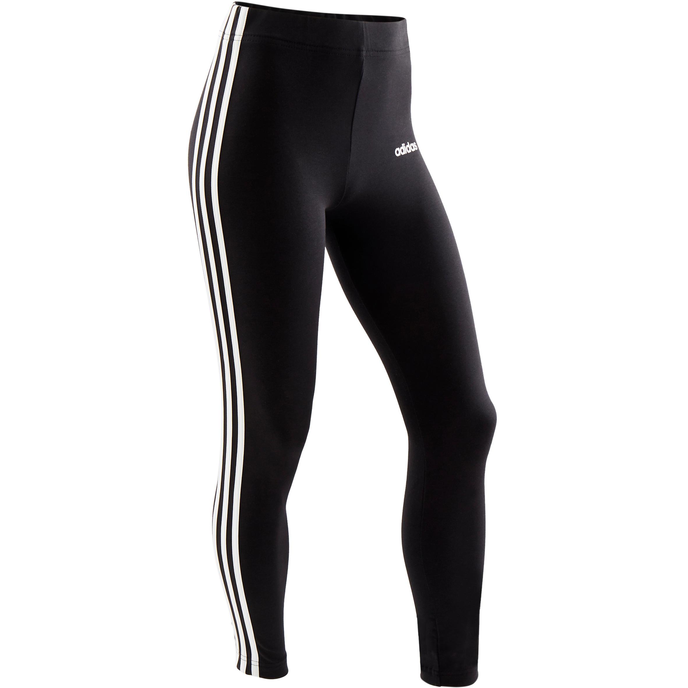 Adidas Legging Voor Meisjes Zwart Met 3 Witte Strepen Opzij Decathlon