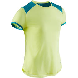 Ademend T-shirt met korte mouwen voor gym meisjes 500 groen