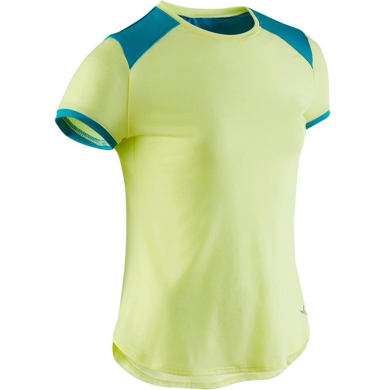 T-shirt respirant imprimé jaune et bleu fille