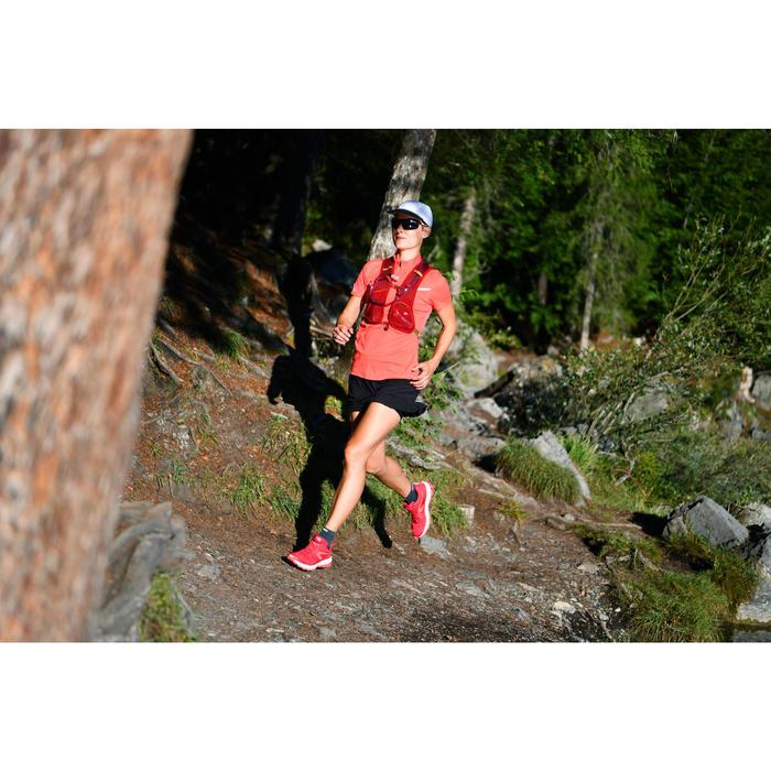 Tee shirt manches courtes trail running femme rose fraise