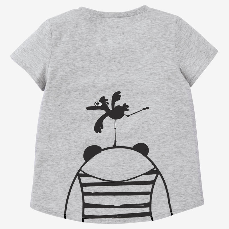 Girls' and Boys' Baby Gym T-Shirt 100 - Grey Print