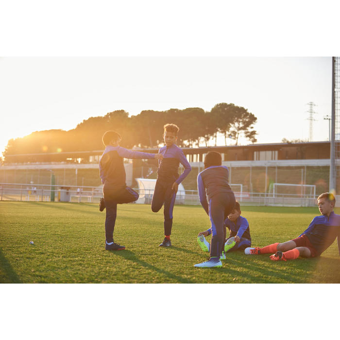 Sweat 1/2 zip d'entraînement de football enfant T500 bleu et marine