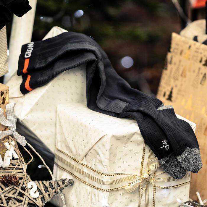 Verstevigde hoge kousen voor oriëntatielopen zwart