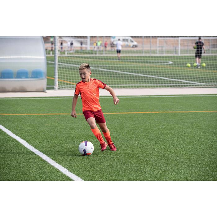 Short de football enfant F520 bordeaux et orange