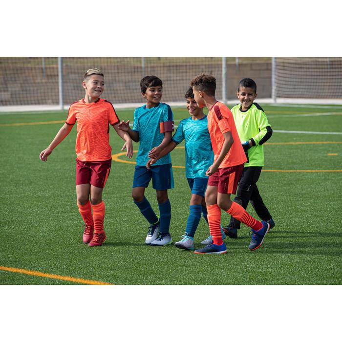 Maillot de football enfant manche courte F520 orange et bordeaux