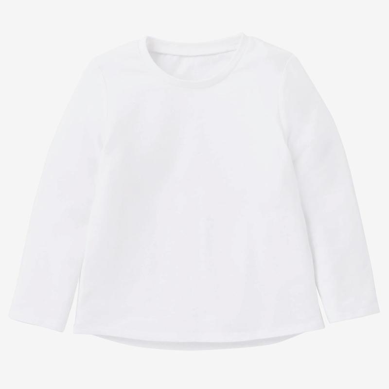 Polera manga larga 100 Gimnasia Infantil Blanca