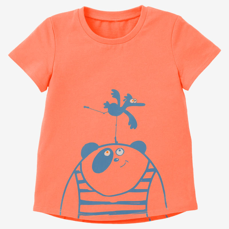 Polera 100 Gimnasia Infantil naranja/turquesa