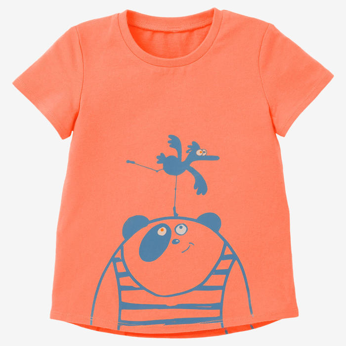 T-shirt voor kleutergym 100 oranje/turquoise