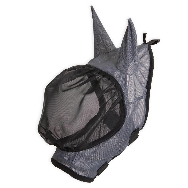 Maschera antimosche equitazione 500 cavallo nera