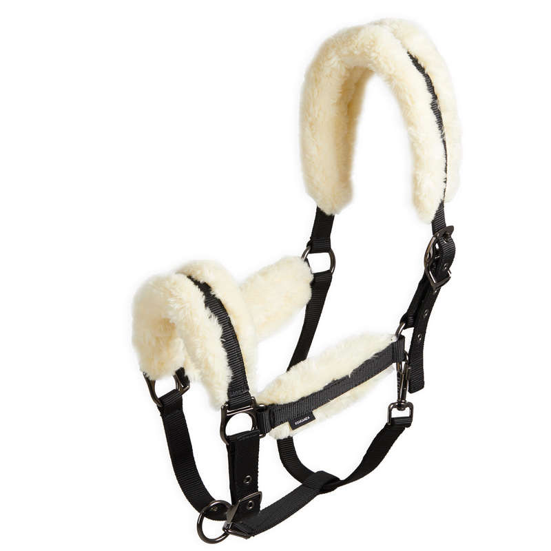 RIDING HALTERS/LEADS Horse Riding - Sheepskin Halter - Black/Beige FOUGANZA - Saddlery and Tack