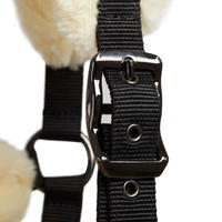 Sheepskin Horse Riding Halter for Ponies - Black/Beige