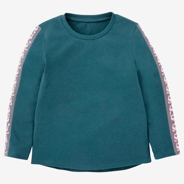 Shirt met lange mouwen voor kleutergym 100 petrol/roze