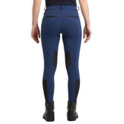 Pantalon équitation femme 150 basanes agrippantes bleu turquin