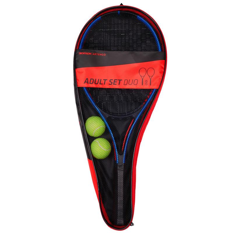ชุดไม้เทนนิสสำหรับผู้ใหญ่รุ่น Duo พร้อมแร็คเกต 2 ไม้ + ลูกเทนนิส 2 ลูก + กระเป๋า 1 ใบ