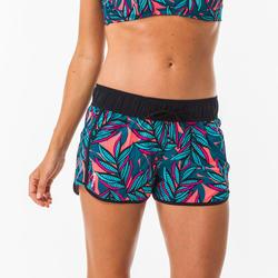 Boardshort voor surfen dames Tini Waku elastische tailleband en aantrekkoordje