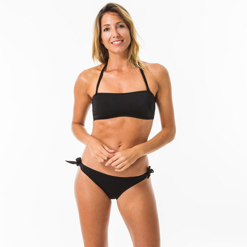 Top Bikini Surf Mujer Olaian Laura Bandeau Palabra Honor Negro