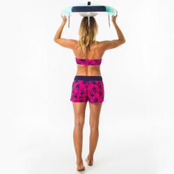 Boardshort voor surfen dames Tini Wako elastische tailleband en aantrekkoordje