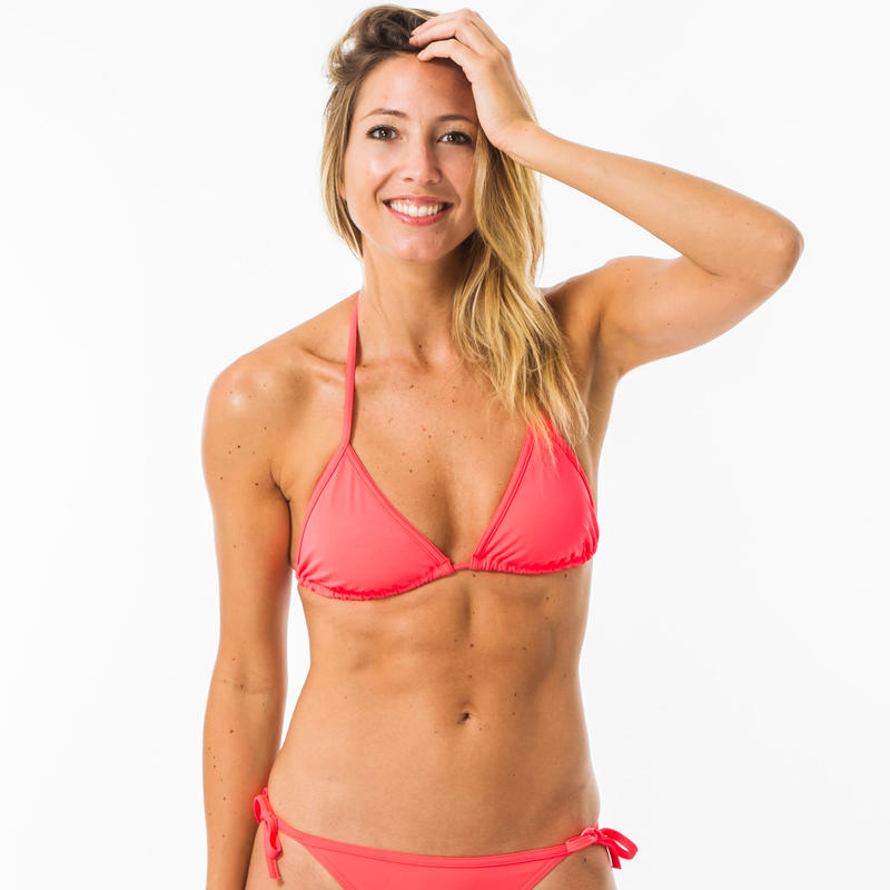 Top bikini triángulo Surf Olaian Mae Mujer Coral