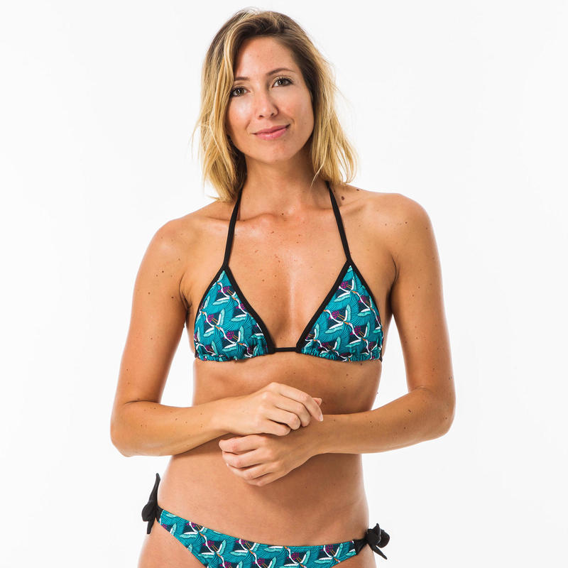 WOMEN'S SLIDING TRIANGLE SWIMSUIT TOP\nREMOVABLE PADDED CUPS MAE HAZU