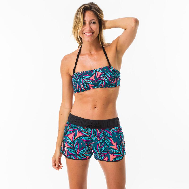 Pantalón Bañador Short Surf Mujer Olaian Azul Cordón Ajustable