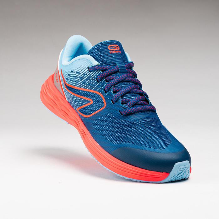 兒童款田徑運動鞋AT 500 KIPRUN FAST - 淡藍色/霓虹紅