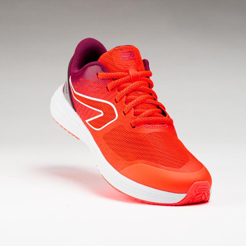 chaussures enfant d'athlétisme AT 500 kiprun fast rose fluo- bordeaux