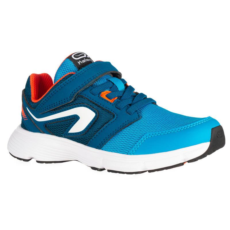 รองเท้าเด็กแบบแถบตีนตุ๊กแกสำหรับเล่นกรีฑารุ่น RUN SUPPORT (สีฟ้า/ส้ม NEON CORAL)