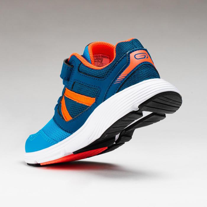 Chaussures enfant d'athlétisme Run Support scratch bleues corail fluo