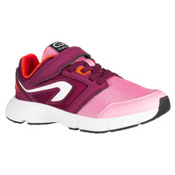 RUN SUPPORT KIDS' ATHLETICS SHOES RIP-TAB - PINK/BURGUNDY