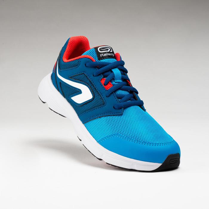 兒童款鞋帶式跑步鞋SUPPORT - 藍綠色/紅色
