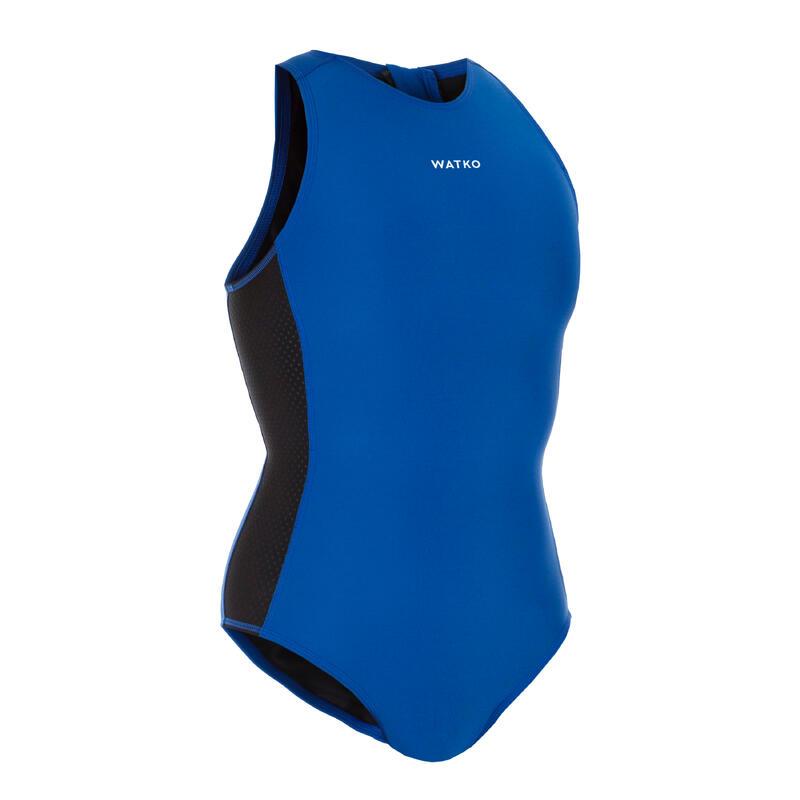 WOMEN'S ONE-PIECE WATER POLO SWIMSUIT - PLAIN BLUE