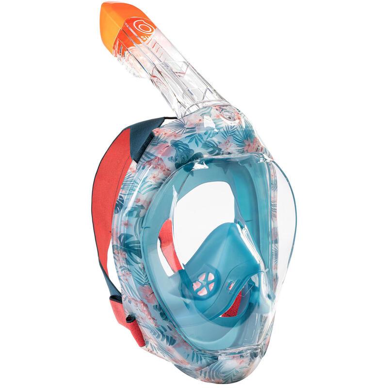 Mască Easybreath Snorkeling la Suprafață 500 Imprimeu Floral