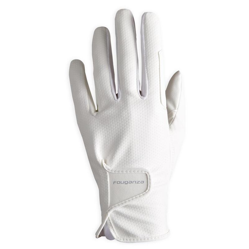 Women's Horse Riding Gloves 500 - White